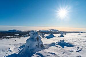 Картинка Зимние Лапландия область Финляндия Небо Снеге Солнца Kolari Природа