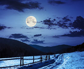 Картинки Зимние Небо Горы Снега Ночные Луны Облако Природа