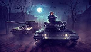 Обои для рабочего стола Танк WOT Хеллоуин Ночные Луна by Sergey Avtushenko Игры