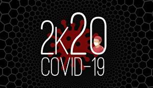 Обои для рабочего стола Коронавирус Черный фон 2020 Слово - Надпись Английский Covid 19