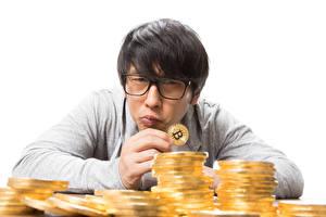 Фото Азиатки Мужчина Биткоин Деньги Монеты Очков Смотрит