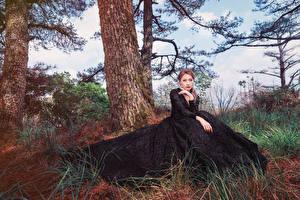 Картинки Азиатки Дерево Сидит Платье Взгляд молодые женщины