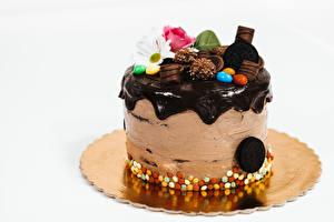 Фото Торты Шоколад Сером фоне Пища