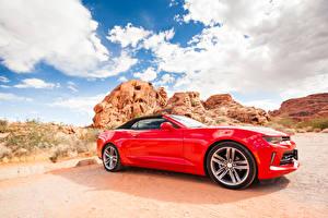 Фотографии Шевроле Красный Сбоку Кабриолет Camaro Автомобили