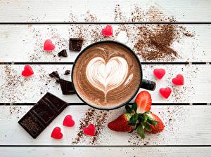 Обои Кофе Шоколад Ягоды Клубника Доски Сердца Кружки Пища