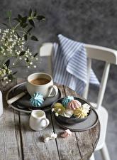 Картинки Кофе Зефир Капучино Доски Чашке Сливками Пища