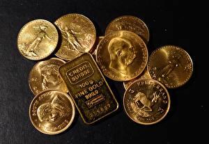 Картинки Монеты Золото Слитка