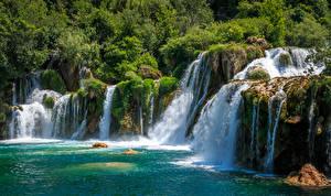 Фотографии Хорватия Парк Водопады Утес Krka National Park Природа