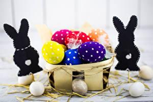 Фото Пасха Кролики Корзина Яиц Разноцветные Еда