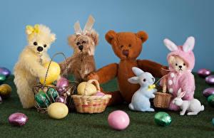 Картинки Пасха Игрушка Мишки Кролики Корзинка Яйца