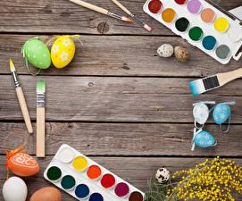 Картинка Пасха Доски Яйцами Дизайн Кисточки Шаблон поздравительной открытки
