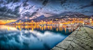 Обои Вечер Берег Италия Море HDR Salerno город