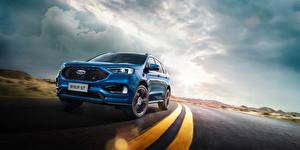 Картинка Ford Синяя Асфальт Edge ST China машины