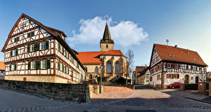 Фотография Германия Здания Церковь Храмы Улице Уличные фонари Baden-Wuerttemberg Города
