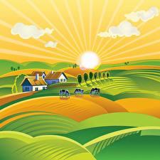 Обои Луга Здания Коровы Векторная графика Солнца Холмы farm Природа