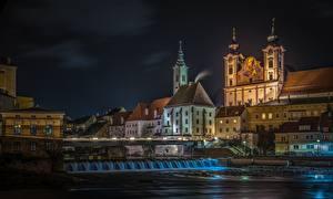 Обои Здания Австрия Река Ночью Steyr Города
