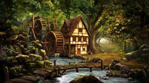 Картинка Дома Мосты Водяная мельница Ручей