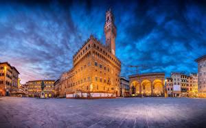 Картинка Здания Флоренция Италия HDR Городская площадь Piazza della Signoria Города