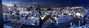Фотографии Здания Италия Зимние Снега Краши Craveggia, Piedmont город