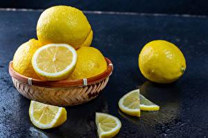 Картинки Лимоны Корзина Кусок