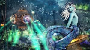 Картинки Русалки Подводный мир Фантастика 3D_Графика