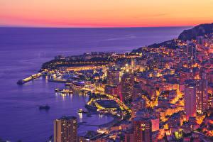 Фотографии Монако Монте-Карло Рассвет и закат Берег Вечер Здания Сверху город