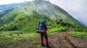 Картинки Гора Тропинка Путешественник Вид сзади Рюкзак Тумане Природа