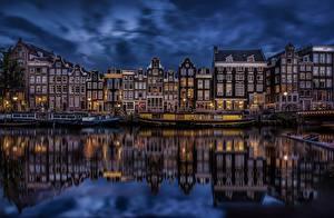 Обои Голландия Амстердам Здания Вечер Водный канал город