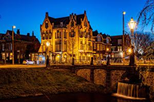 Обои Голландия Вечер Здания Мосты Уличные фонари Arnhem Города