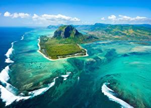 Обои Океан Остров Горы Небо Сверху Mauritius