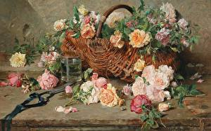 Фотографии Картина Натюрморт Корзина French painter, Francois Adolphe, Still life of roses with basket цветок