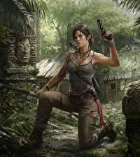 Картинка Tomb Raider Пистолетом Tomb Raider 2013 Лара Крофт Луком Игры Девушки