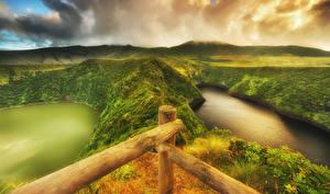 Фотографии Португалия Озеро Холм Мох HDRI Flores island Azores