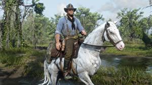 Фото Red Dead Redemption 2 Лошадь Белая Шляпы Arthur Morgan компьютерная игра
