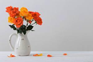 Картинки Роза Букет Кувшины Лепестков Оранжевые Шаблон поздравительной открытки цветок
