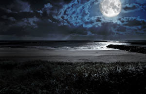 Фотография Пейзаж Побережье Ночь Луна Облачно