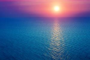 Фото Море Рассвет и закат Солнца Природа