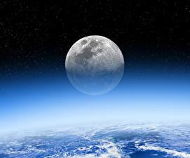 Обои Небо Звезды Ночью Луна