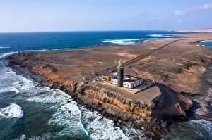 Картинки Испания Океан Маяк Канарские острова Сверху Fuerteventura, Punta Jandía Lighthouse
