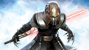 Обои Star Wars Воины Световой меч Доспехе Шлема Star Wars: The Force Unleashed компьютерная игра Фэнтези