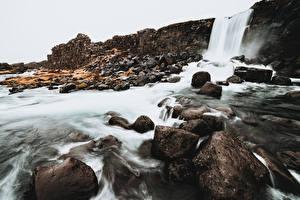Картинки Камень Водопады Исландия Öxarárfoss Waterfall Природа