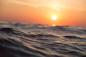 Картинки Рассвет и закат Море Воде Солнца Природа
