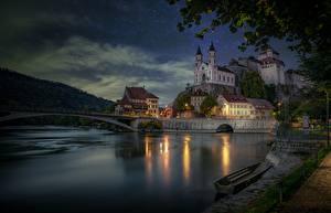 Картинка Швейцария Вечер Мосты Лодки Река Замок Набережной Aare River, Aarburg, Aarburg Castle Города