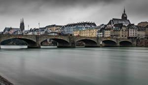 Картинки Швейцария Здания Речка Мост Basel город