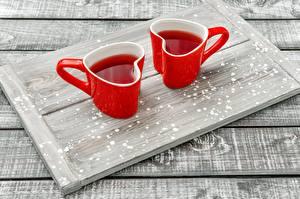 Обои для рабочего стола Чай Красная Кружки 2 Поднос Сердечко Пища