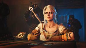 Фотография Ведьмак 3: Дикая Охота Блондинки Сидящие Стола Компьютерная игра Cirilla Fiona Elen Riannon, Gwent :The Witcher Card Game 3д 3D_Графика Девушки