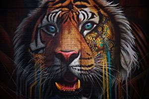 Фотографии Тигр Граффити Морды Смотрят Головы Стены Кирпичный Животные
