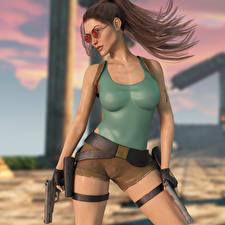 Фотографии Tomb Raider Tomb Raider Legend Пистолет Очков Лара Крофт Позирует компьютерная игра Девушки 3D_Графика