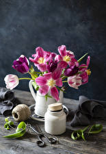 Картинки Тюльпаны Доски Вазе Банка цветок