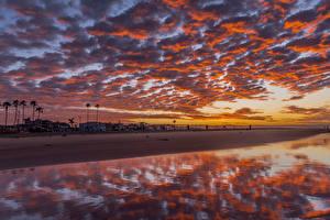 Фотография Штаты Берег Рассвет и закат Здания Небо Облачно Newport Beach Природа